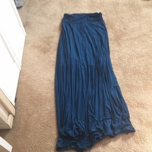 Blue Flowing Maxi Skirt